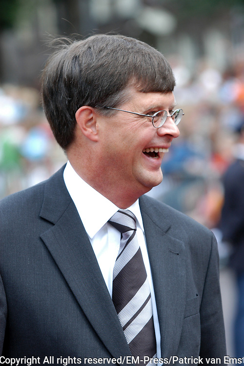 His highness prince Pieter-Christiaan of Oranje Nassau, of Vollenhoven and Ms drs. A.T. van Eijk get married  in the Great or St Jeroens Church in Noordwijk. <br /> <br /> <br /> Zijne Hoogheid Prins Pieter-Christiaan van Oranje-Nassau, van Vollenhoven en mevrouw drs. A.T. van Eijk treden in het (kerkelijk) huwelijk in de Grote St. Jeroenskerk in Noordwijk<br /> <br /> On the photo/Op de foto:<br /> <br /> <br /> <br /> Minister-president  Jan Peter Balkenende