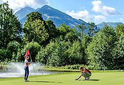 THEMENBILD - Zwei Golfspieler am Golfclub Eichenheim mit den Südbergen Kitzbühels im Hintergrund, aufgenommen am 04. Juli 2017, Kitzbühel, Österreich // Two golfers at the Eichenheim golf club with the southern Kitzbuhel mountains in the background at Kitzbühel, Austria on 2017/07/04. EXPA Pictures © 2017, PhotoCredit: EXPA/ Stefan Adelsberger