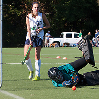 6 SEP 2010 -- FENTON, Mo. -- Marquette High School  field hockey player, Suzanne Sterns (38) shoots on Nerinx Hall Academy Green goalkeeper to tie the game  during the Gateway Field Hockey Labor Day Tournament at the A-B Center in Fenton, Mo., Monday Sept. 6, 2010.  The match ended tied 2-2.