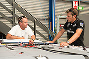 Chris Nicholson and Dean Barker. Emirates Team New Zealand sailors prepare their A Class catamarans for the upcoming National championships  and World championships regattas being sailed at Takapuna in Auckland. 5/2/2014