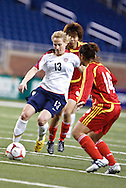 Kristine Lilly (13), Liu Hua Na (14) & Yuan Fan (2). US Women National Team vs. China. US 1 China 0
