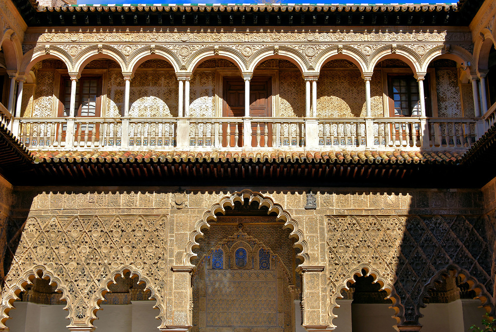 Courtyard of the Maidens at Real Alc&aacute;zar in Seville, Spain<br />