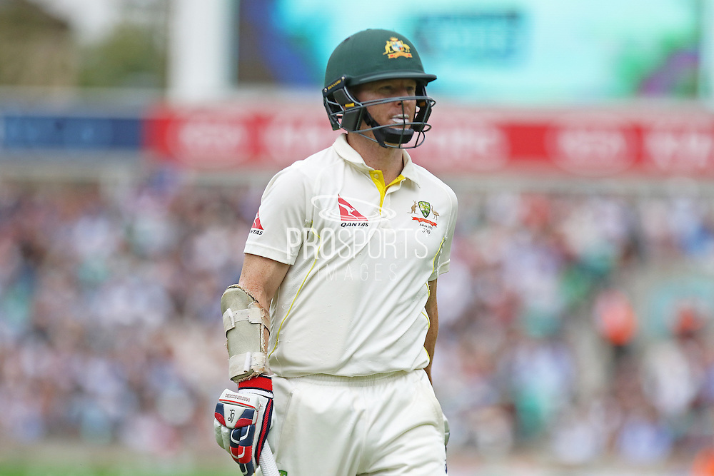 Chris Rogers of Australia out for 43 during the 1st day of the 5th Investec Ashes Test match between England and Australia at The Oval, London, United Kingdom on 20 August 2015. Photo by Phil Duncan.