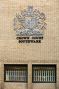 The Royal crest above the holding cells for those on trial at Sothwark crown court.