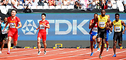 LONDON, Aug. 12, 2017  Zhang Peimeng (2nd L) and Su Bingtian (3rd L) of Team China are seen with Usain Bolt (2nd R) of Team Jamaica during Men's 4x100m Relay Heats on Day 9 of the 2017 IAAF World Championships at London Stadium in London, Britain, on Aug. 12, 2017. (Credit Image: © Wang Lili/Xinhua via ZUMA Wire)