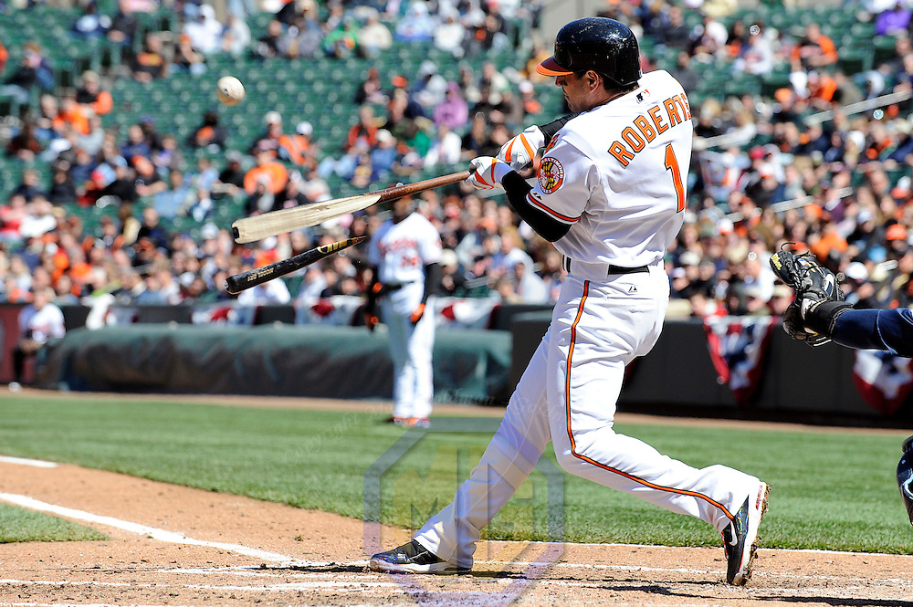 12 April 2009:  Baltimore Orioles second baseman Brian Roberts (1) breaks his bat lining out to shallow center field to end the 3rd inning against the Tampa Bay Rays at Camden Yards in Baltimore, MD.  The Rays defeated the Orioles 11-3.  ****For Editorial Use Only****