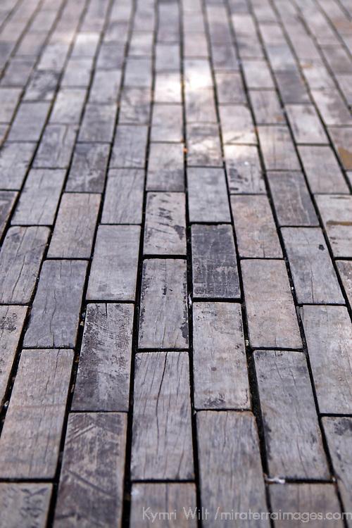 Central America, Cuba, Havana. Wood bricks of Tacon Street, Old Havana.