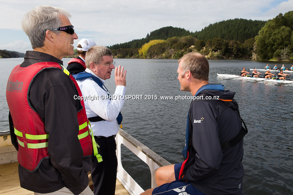 IOC president Thomas Bach with Mahe Drysdale, and Barry Maister (NZ IOC member) on a barge at the Rowing NZ Media Day, Lake Karapiro, Cambridge, New Zealand, Wednesday 6 May 2015. Photo: Stephen Barker/Photosport.co.nz