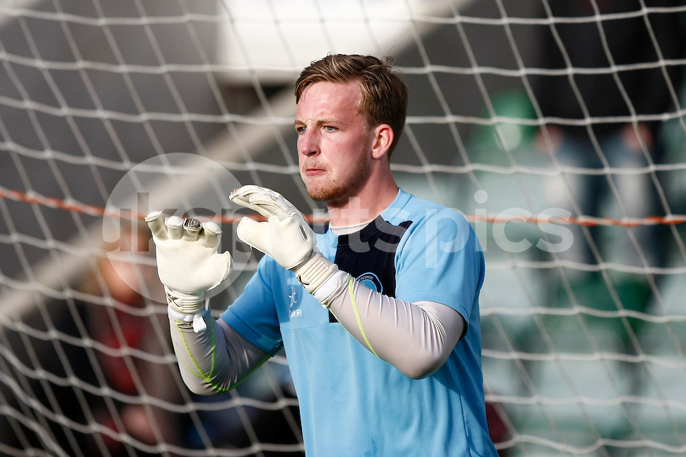 Wycombe Wanderers goalkeeper Alex Lynch will make his first start in the Sky Bet League 2 Play Off 1st Leg match between Plymouth Argyle and Wycombe Wanderers at Home Park, Plymouth, England on 9 May 2015. Photo by Mark Hawkins.