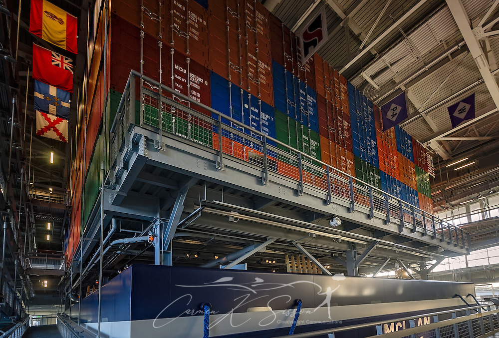 A full-size container ship is displayed at GulfQuest National Maritime Museum of the Gulf of Mexico,  November 27, 2015, in Mobile, Alabama. The museum opened in September 2015 and features more than 90 interactive exhibits celebrating the  Gulf Coast's rich maritime heritiage. (Photo by Carmen K. Sisson/Cloudybright)