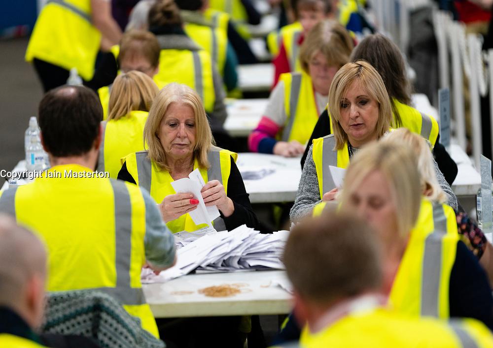 Edinburgh, Scotland, UK. 12th December 2019. Parliamentary General Election Count at the Royal Highland Centre in Edinburgh. Iain Masterton/Alamy Live News