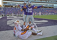 Strong safety Denzel Goolsby #20 of the Kansas State Wildcats reacts after braking up a pass in the end zone intended for wide receiver Marchie Murdock #16 of the Iowa State Cyclones during the second half at Bill Snyder Family Stadium in Manhattan, Kansas.