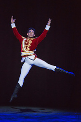"© Licensed to London News Pictures. 10/12/2013. London, England. Picture: Yonah Acosta as the Prince. Final working stage rehearsal of ""Nutcracker"" at the London Coliseum. Choreography by Wayne Ealing with music by Pyotr Ilyich Tchaikovsky. Photo credit: Bettina Strenske/LNP"