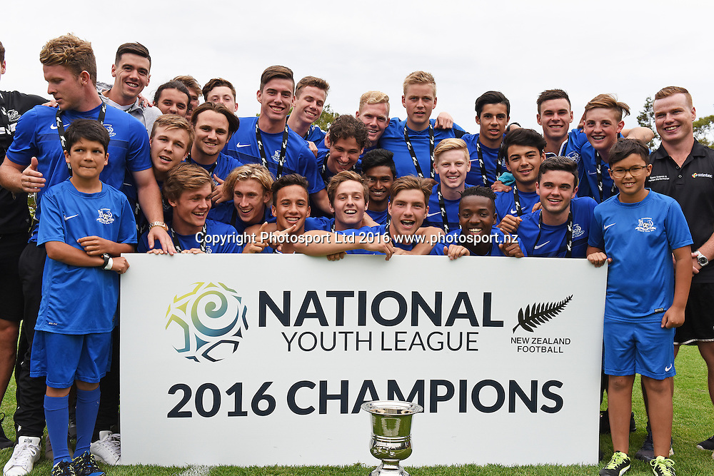 National Youth League 2016 Champions presentation at half time during the Hamilton Wanderers v Auckland City at Porritt Stadium, Hamilton, New Zealand on the 15th February 2017. Copyright photo: Jeremy Ward / www.photosport.nz