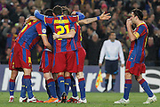 FC Barcelona's players celebrate goal during UEFA Champions League match.March 8,2011.