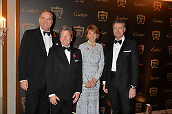 Left to right, ,the HON.HARRY HERBERT JOHN WARREN LADY CAROLYN WARREN and LAURENT FENIOU at the 26th Cartier Racing Awards held at The Dorchester, Park Lane, London on 8th November 2016.