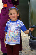 GOBI DESERT, MONGOLIA..08/26/2001.Girl at Bayangovi..(Photo by Heimo Aga).