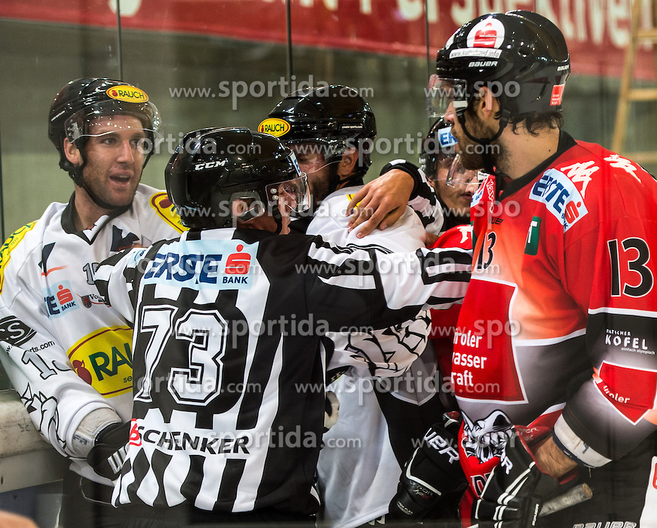 09.09.2012, Tiroler Wasserkraft Arena, Innsbruck, AUT, EBEL, HC TWK Innsbruck vs EC Dornbirn, 02. Runde, im Bild eine Rauferei zwischen Daniel Bois, (EC Dornbirn, #15) und Antonin Manavian, (HC TWK Innsbruck, # 13) // during the Erste Bank Icehockey League 2nd Round match between HC TWK Innsbruck and EC Dornbirn at the Tiroler Wasserkraft Arena, Innsbruck, Austria on 2012/09/09. EXPA Pictures © 2012, PhotoCredit: EXPA/ Eric Fahrner