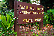 Rainbow Falls sign, Wailuku River State Park, Hilo, The Big Island, Hawaii USA