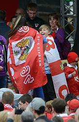 Bristol City fan celebrates on the stage at the Lloyds  Amphitheater - Photo mandatory by-line: Dougie Allward/JMP - Mobile: 07966 386802 - 04/05/2015 - SPORT - Football - Bristol -  - Bristol City Celebration Tour
