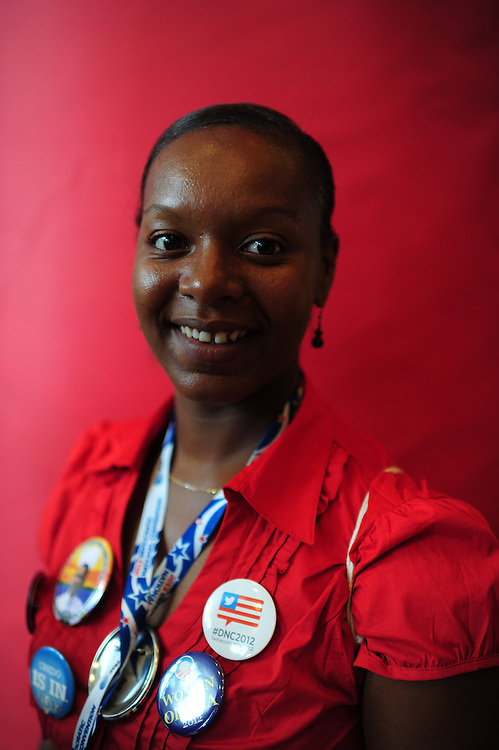 Yashica Amouzouvik, a delegate from Clarksville, TN, September 4, 2012 at the Democratic National Convention in Charlotte, NC. (Jay Westcott/POLITICO)
