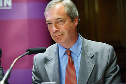 """© Licensed to London News Pictures. 17/06/2015. London, UK. UKIP leader NIGEL FARAGE delivers a speech to launch """"The Truth About Trade Beyond The EU"""" pamphlet in central London, on Wednesday, June 17, 2015. Photo credit: Tolga Akmen/LNP"""