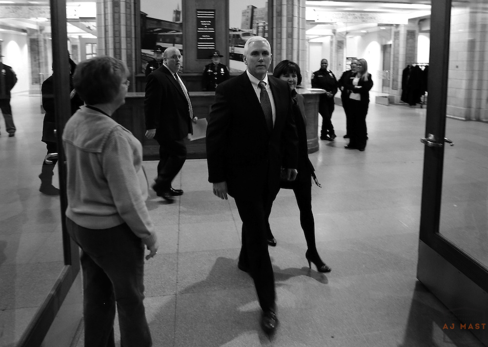 Gov. Elect Mike Pence arrives at a breakfast for volunteers before his inauguration in Indianapolis, Monday January 14,2013. (Photo by AJ Mast)