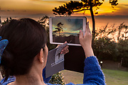 photographing sunset with mounth Fuji near Kamkura Hayama Japan