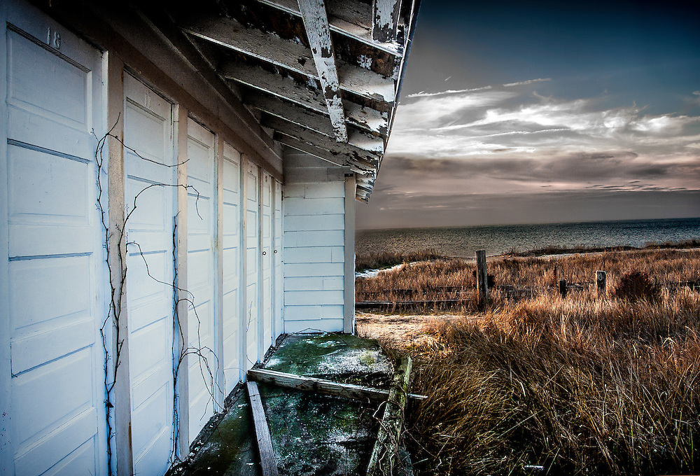 Old dressing rooms at Sunset Beach, Cape May, New Jersey.