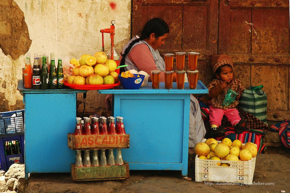 Market stall on street in La Paz, Bolivia