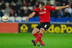 Cardiff Defender Ben Turner (ENG) crosses during the second half of the match - Photo mandatory by-line: Rogan Thomson/JMP - Tel: Mobile: 07966 386802 23/10/2012 - SPORT - FOOTBALL - Cardiff City Stadium - Cardiff. Cardiff City v Watford - Football League Championship