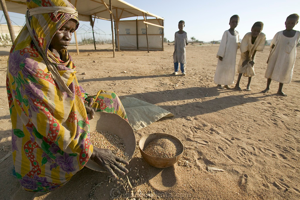 Sitting near the food distribution center at the Breidjing Refugee Camp right after sunrise, a Sudanese refugee woman patiently sifts through the sand to pluck out any bits of grain that might have dropped to the ground during the previous day's ration disbursement. The bowl on the ground is a standard-size, two-quart coro used to measure grain. Hungry Planet: What the World Eats (p. 61). /// This image is featured alongside the Aboubakar family images in Hungry Planet: What the World Eats. (Please refer to Hungry Planet book p. 56-57 for a family portrait.)