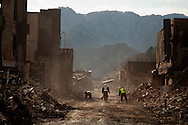 Japanese forces work in the town of Otsuchi, looking at the remains of the city after the earthquake and tsunami hit the city on 11 March 2011.