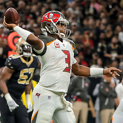 Nov 5, 2017; New Orleans, LA, USA; Tampa Bay Buccaneers quarterback Jameis Winston (3) throws against the New Orleans Saints during the first half of a game at the Mercedes-Benz Superdome. Mandatory Credit: Derick E. Hingle-USA TODAY Sports