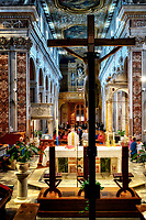 """""""The Crucifixion of the Triumphal Sacrifice - Holy Mass in the Cathedral of Sorrento""""…<br /> <br /> Our 2019 Italy Pilgrimage with Spiritual Director: Fr. Kevin Peek offering Mass. """"The Nicene Creed: I believe in one God, the Father almighty, maker of heaven and earth, of all things visible and invisible. I believe in one Lord Jesus Christ, the Only Begotten Son of God, born of the Father before all ages. God from God, Light from Light, true God from true God, begotten, not made, consubstantial with the Father; through him all things were made. For us men and for our salvation he came down from heaven, and by the Holy Spirit was incarnate of the Virgin Mary, and became man. For our sake he was crucified under Pontius Pilate, he suffered death and was buried, and rose again on the third day in accordance with the Scriptures. He ascended into heaven and is seated at the right hand of the Father. He will come again in glory to judge the living and the dead and his kingdom will have no end. I believe in the Holy Spirit, the Lord, the giver of life, who proceeds from the Father and the Son, who with the Father and the Son is adored and glorified, who has spoken through the prophets. I believe in one, holy, catholic and apostolic Church. I confess one Baptism for the forgiveness of sins and I look forward to the resurrection of the dead and the life of the world to come. Amen"""""""