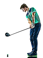 one young caucasian Man Golf golfer golfing isolated  on white background