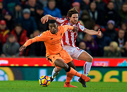 STOKE-ON-TRENT, ENGLAND - Wednesday, November 29, 2017: Liverpool's Georginio Wijnaldum and Stoke City's Joe Allen during the FA Premier League match between Stoke City and Liverpool at the Bet365 Stadium. (Pic by David Rawcliffe/Propaganda)