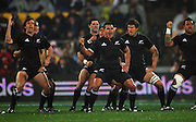 The All Blacks perform the haka.<br /> Philips Tri Nations, All Blacks vs South Africa at Westpac Stadium, Wellington, New Zealand, Saturday 5 July 2008. Photo: Dave Lintott/PHOTOSPORT