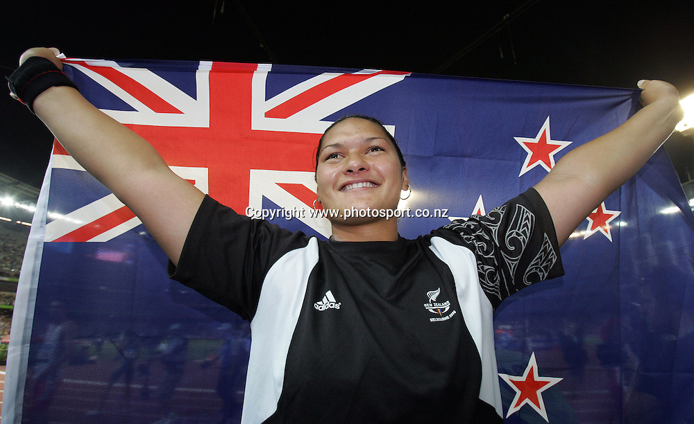Valerie Vili (NZL) after winning gold in the Women's Shot Put final on Day 7 of the XVIII Commonwealth Games at the MCG, Melbourne, Australia on Wednesday 22 March, 2006. Photo: Hannah Johnston/PHOTOSPORT