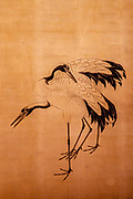 Ancient painting of cranes in the Imperial Palace in Kyoto