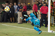 Toronto FC goalkeeper Quentin Westberg (16) attempts to block a penalty kick and fails during an MLS soccer game between the LAFC and the Toronto FC. LAFC and Toronto FC tied 1-1 on Saturday, Sept 21, 2019, in Los Angeles. (Ed Ruvalcaba/Image of Sport)
