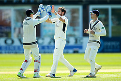 James Harris of Middlesex celebrates with teammates after taking the wicket of Ben Slater of Derbyshire- Mandatory by-line: Robbie Stephenson/JMP - 20/04/2018 - CRICKET - The 3aaa County Ground  - Derby, England - Derbyshire CCC v Middlesex CCC - Specsavers County Championship Division Two