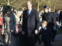 The Duke and Duchess of Cambridge and their children Prince George and Princess Charlotte arriving to attend the Christmas Day morning church service at St Mary Magdalene Church in Sandringham, Norfolk.