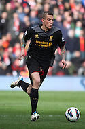Picture by Daniel Chesterton/Focus Images Ltd +44 7966 018899.16/03/2013.Daniel Agger of Liverpool in action during the Barclays Premier League match at the St Mary's Stadium, Southampton.