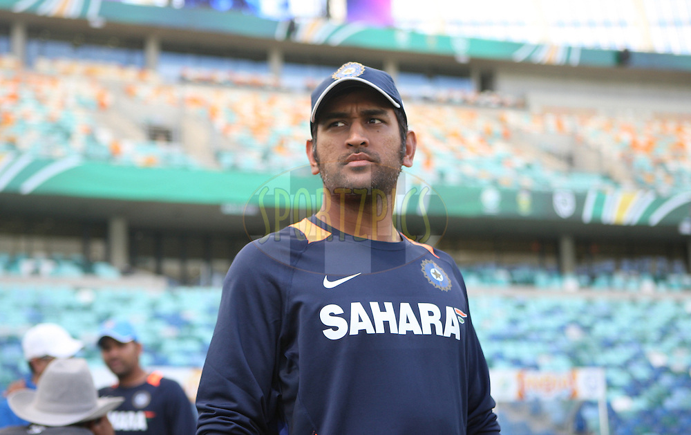 Mahendra Singh Dhoni (capt) during the South Africa and India team practice sessions held at Moses Mabhida Stadium and Nets sessions at Kingsmead Stadium in Durban on the 8th January 2011 ( The Pro twenty match between South Africa and India is due to be held at the Moses Mabhida Stadium on the 9th January 2011 )..Photo by Steve Haag/BCCI/SPORTZPICS