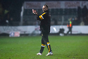 Newport County manager Michael Flynn applauds the fans at full time after a 2-0 win over Middlesbrough during the The FA Cup match between Newport County and Middlesbrough at Rodney Parade, Newport, Wales on 5 February 2019.