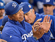 Dodger Manager Dave Roberts. The Los Angele Dodgers played the Los Angeles Angels of Anaheim in the 2nd game of the pre-season freeway series at Dodger Stadium in Los Angeles, CA.  April 1, 2016.  (Photo by John McCoy/Los Angeles News Group)