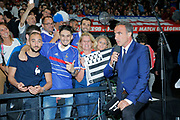 Nikos Aliagas (Nikolaos Aliagas) and supporters during the 2018 Friendly Game football match between France 98 and FIFA 98 on June 12, 2018 at U Arena in Nanterre near Paris, France - Photo Stephane Allaman / ProSportsImages / DPPI
