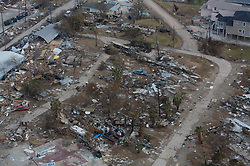 Stock photo of massive property and home damage in Galveston Texas caused by Hurricane Ike