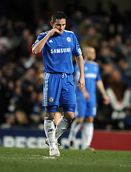 A dejected Frank Lampard reacts after Inter Milan score during the second leg of the round of 16 UEFA Champions League match at home to Chelsea at Stamford Bridge football stadium, London on March 16, 2010.